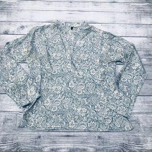 J. Crew 100% Silk Blue White Pattern LS Henley 6